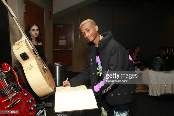 Recording artist Jaden Smith with the GRAMMY Charities Signings during the 60th Annual GRAMMY Awards at Madison Square Garden on January 28 2018 in...