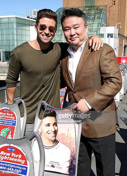 Recording artist Jake Miller poses for a photo with creator and producer at Ride of Fame David W Chien at the Jake Miller Ride Of Fame Imminent...