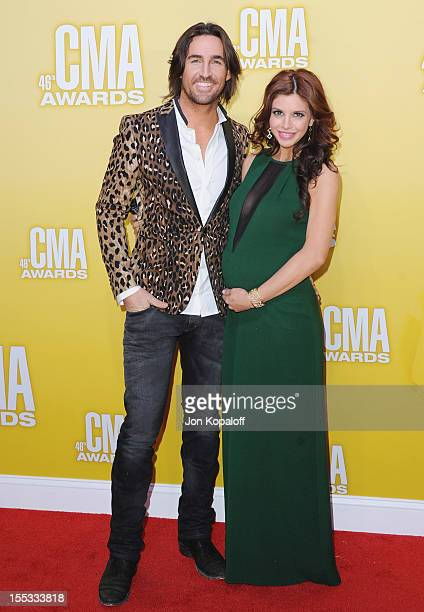 Recording artist Jake Owen and wife Lacey Buchanan attend the 46th annual CMA Awards at the Bridgestone Arena on November 1, 2012 in Nashville,...
