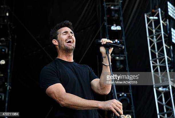 Recording artist Jake Owen rehearses onstage during ACM Presents Superstar Duets at Globe Life Park in Arlington on April 18 2015 in Arlington Texas