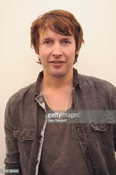 Recording artist James Blunt poses for pictures after performing at JetBlue's Live From T5 concert series Terminal 5 at JFK Airport on January 18...