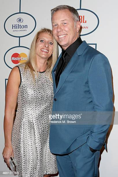 Recording artist James Hetfield of Metallica and Francesca Hetfield attend the 56th annual GRAMMY Awards PreGRAMMY Gala and Salute to Industry Icons...