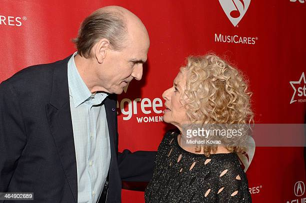 Recording artist James Taylor and honoree Carole King attend 2014 MusiCares Person Of The Year Honoring Carole King at Los Angeles Convention Center...