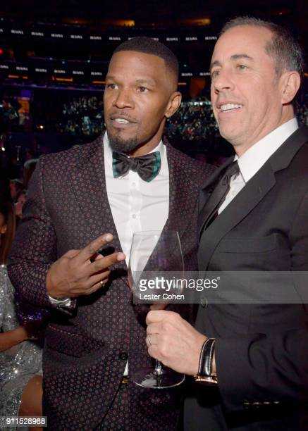 Recording Artist Jamie Foxx and Comedian Jerry Seinfeld during the 60th Annual GRAMMY Awards at Madison Square Garden on January 28 2018 in New York...