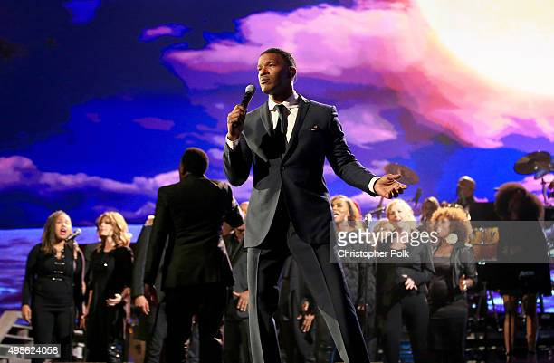 Recording artist Jamie Foxx performs onstage at AE Networks 'Shining A Light' concert at The Shrine Auditorium on November 18 2015 in Los Angeles...