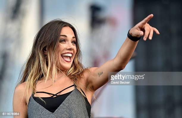 Recording artist Jana Kramer performs during the Route 91 Harvest country music festival at the Las Vegas Village on September 30 2016 in Las Vegas...