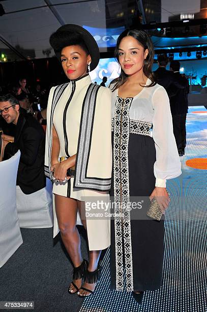 Recording artist Janelle Monae and actress Tessa Thompson attend the 2015 MOCA Gala presented by Louis Vuitton at The Geffen Contemporary at MOCA on...