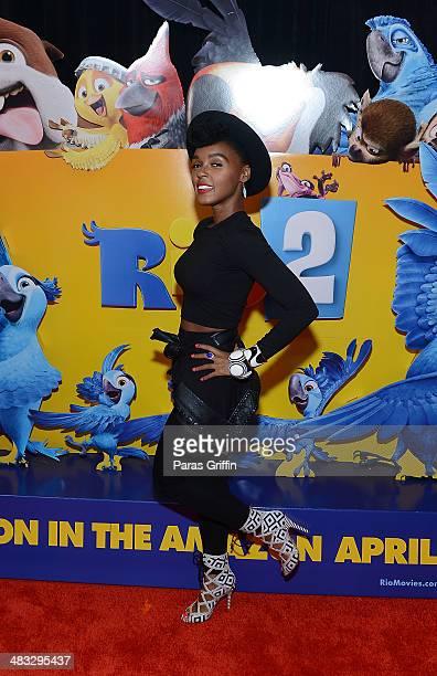 "Recording artist Janelle Monae attends ""Rio 2"" screening at Regal Atlantic Station on April 7, 2014 in Atlanta, Georgia."