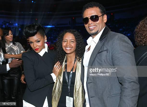 Recording artist Janelle Monae Chitra Sukhu Van Peebles and Mario Van Peebles at the Soul Train Awards 2013 at the Orleans Arena on November 8 2013...