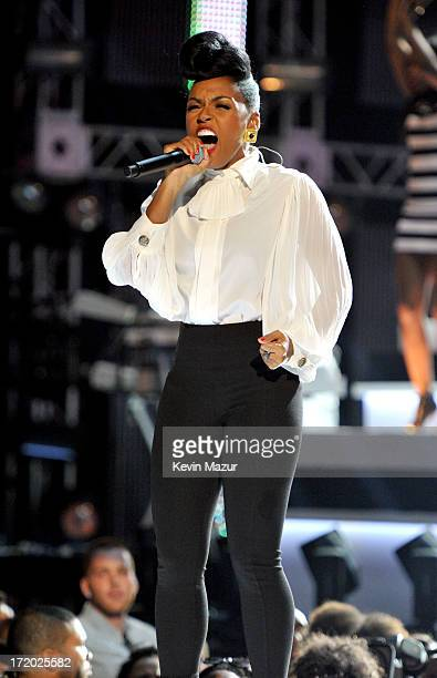 Recording artist Janelle Monae onstage during the 2013 BET Awards at Nokia Theatre LA Live on June 30 2013 in Los Angeles California