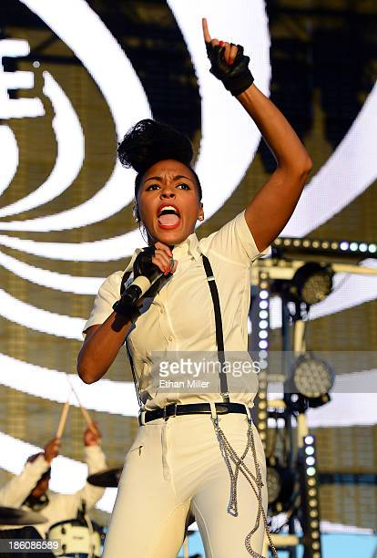 Recording artist Janelle Monae performs during the Life is Beautiful festival on October 27 2013 in Las Vegas Nevada