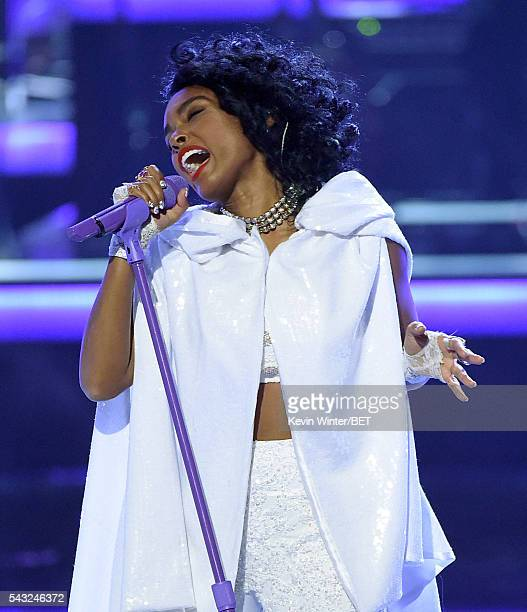 Recording artist Janelle Monae performs onstage during the 2016 BET Awards at the Microsoft Theater on June 26 2016 in Los Angeles California