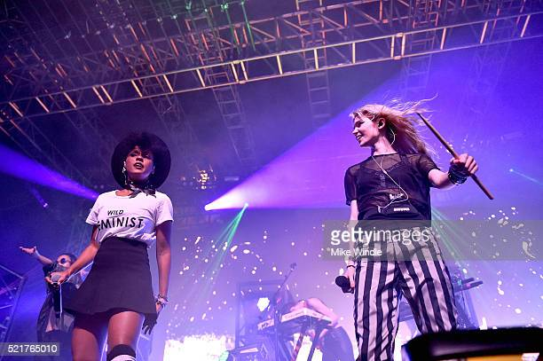 Recording artist Janelle Monae performs onstage with singer Grimes during day 2 of the 2016 Coachella Valley Music Arts Festival Weekend 1 at the...