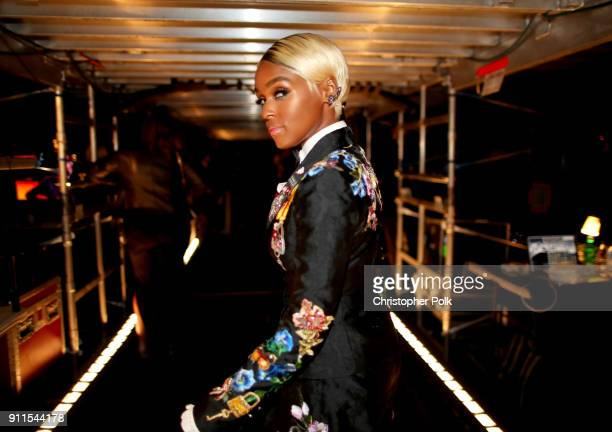 Recording artist Janelle Monae poses backstage at the 60th Annual GRAMMY Awards at Madison Square Garden on January 28 2018 in New York City