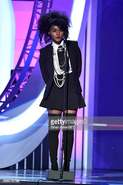Recording artist Janelle Monae speaks onstage during the 2015 Soul Train Music Awards at the Orleans Arena on November 6 2015 in Las Vegas Nevada