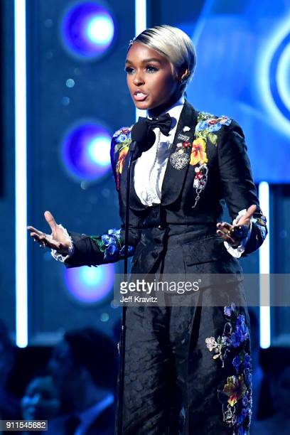 Recording artist Janelle Monae speaks onstage during the 60th Annual GRAMMY Awards at Madison Square Garden on January 28 2018 in New York City