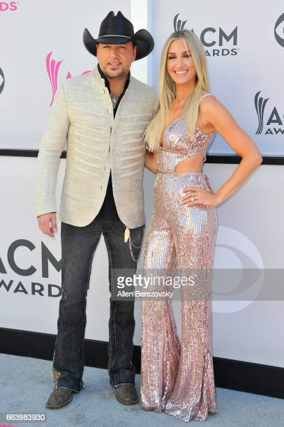 Recording artist Jason Aldean and Brittany Kerr arrive at the 52nd Academy Of Country Music Awards on April 2 2017 in Las Vegas Nevada
