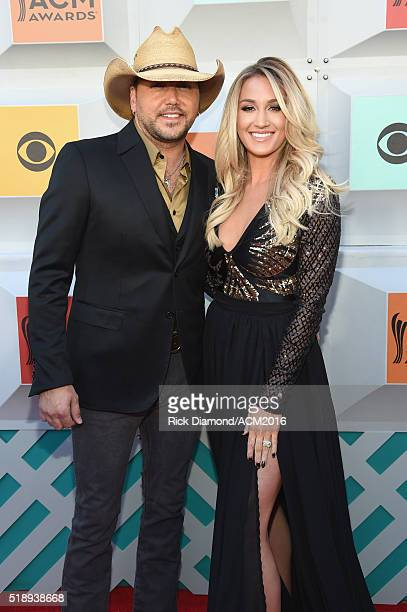 Recording artist Jason Aldean and Brittany Kerr attend the 51st Academy of Country Music Awards at MGM Grand Garden Arena on April 3 2016 in Las...