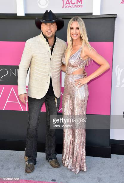 Recording artist Jason Aldean and Brittany Kerr attends the 52nd Academy Of Country Music Awards at Toshiba Plaza on April 2 2017 in Las Vegas Nevada