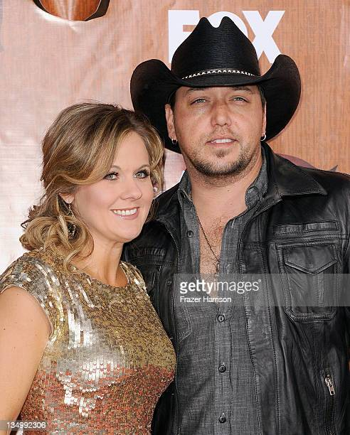 Recording artist Jason Aldean and his wife Jessica Aldean arrive at the American Country Awards 2011 at the MGM Grand Garden Arena on December 5 2011...