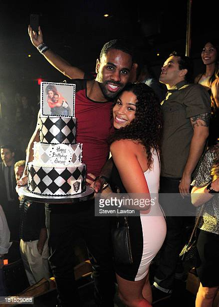 Recording artist Jason Derulo and singer Jordan Sparks pose at 1 OAK Nightclub at The Mirage Hotel Casino on September 21 2013 in Las Vegas Nevada