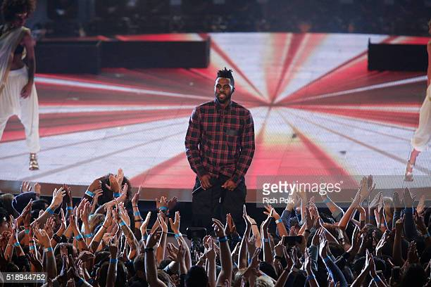 Recording artist Jason Derulo performs onstage during the iHeartRadio Music Awards at The Forum on April 3 2016 in Inglewood California