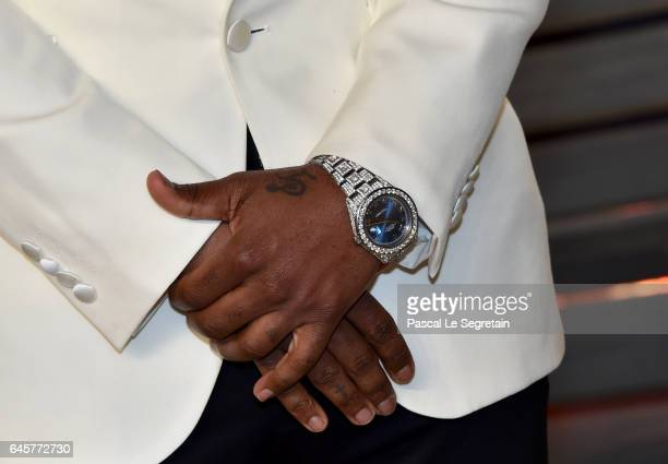 Recording artist Jason Derulo watch manicure tattoo and fashion details attends the 2017 Vanity Fair Oscar Party hosted by Graydon Carter at Wallis...