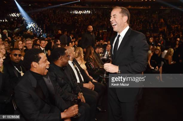 Recording artist Jay Z and comedian Jerry Seinfeld attend the 60th Annual GRAMMY Awards at Madison Square Garden on January 28 2018 in New York City