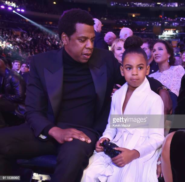 Recording artist Jay Z and daughter Blue Ivy Carter attend the 60th Annual GRAMMY Awards at Madison Square Garden on January 28, 2018 in New York...
