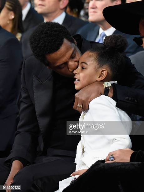 Recording artist Jay Z and daughter Blue Ivy Carter attend the 60th Annual GRAMMY Awards at Madison Square Garden on January 28 2018 in New York City