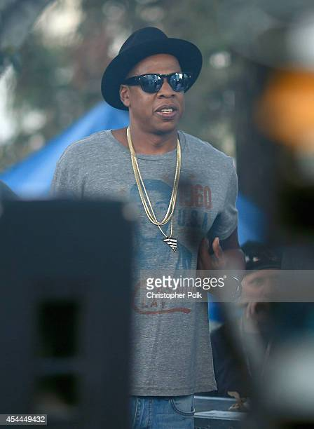 Recording artist Jay Z attends day 2 of the 2014 Budweiser Made in America Festival at Los Angeles Grand Park on August 31 2014 in Los Angeles...