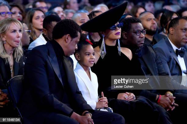 Recording artist Jay Z Blue Ivy Carter and recording artist Beyonce attend the 60th Annual GRAMMY Awards at Madison Square Garden on January 28 2018...