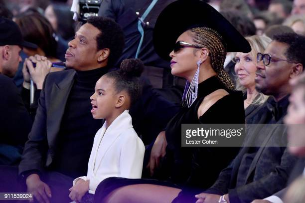 Recording artist Jay Z, daughter Blue Ivy Carter and recording artist Beyonce attend the 60th Annual GRAMMY Awards at Madison Square Garden on...