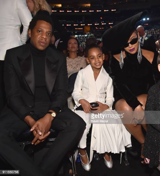 Recording artist Jay Z daughter Blue Ivy Carter and recording artist Beyonce attend the 60th Annual GRAMMY Awards at Madison Square Garden on January...