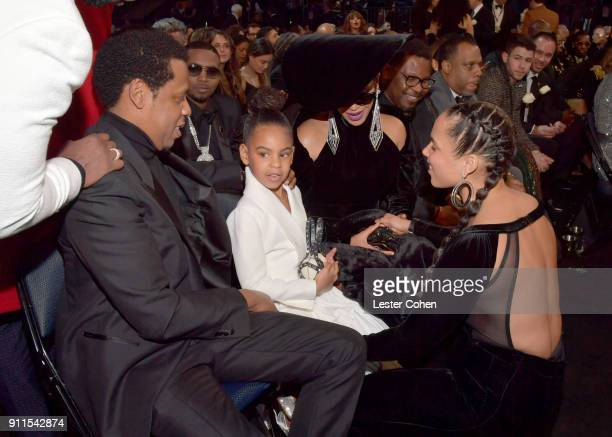Recording artist Jay Z daughter Blue Ivy Carter and recording artists Beyonce and Alicia Keys attend the 60th Annual GRAMMY Awards at Madison Square...