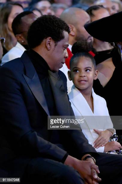 Recording artist JayZ and Blue Ivy Carter attend the 60th Annual GRAMMY Awards at Madison Square Garden on January 28 2018 in New York City