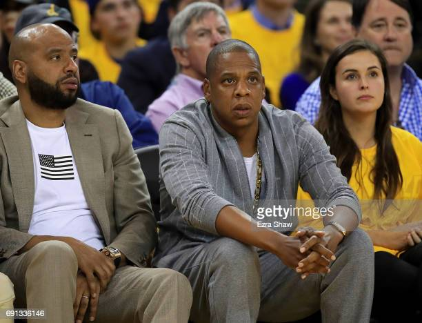 Recording artist JayZ attends Game 1 of the 2017 NBA Finals between the Golden State Warriors and the Cleveland Cavaliers at ORACLE Arena on June 1...