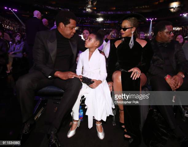 Recording artist JayZ Blue Ivy Carter and Beyonce attend the 60th Annual GRAMMY Awards at Madison Square Garden on January 28 2018 in New York City
