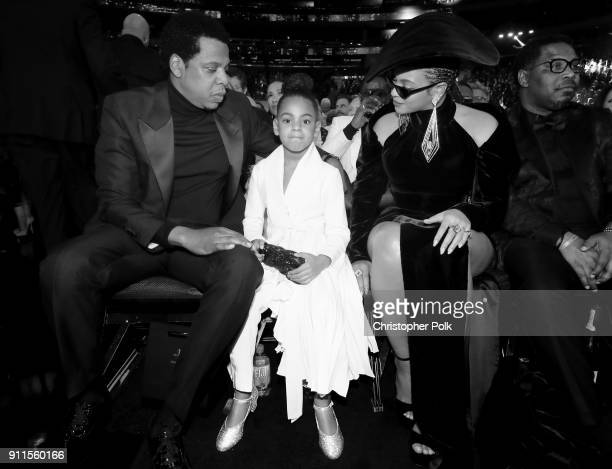 Recording artist Jay-Z, Blue Ivy Carter and recording artist Beyonce attend the 60th Annual GRAMMY Awards at Madison Square Garden on January 28,...