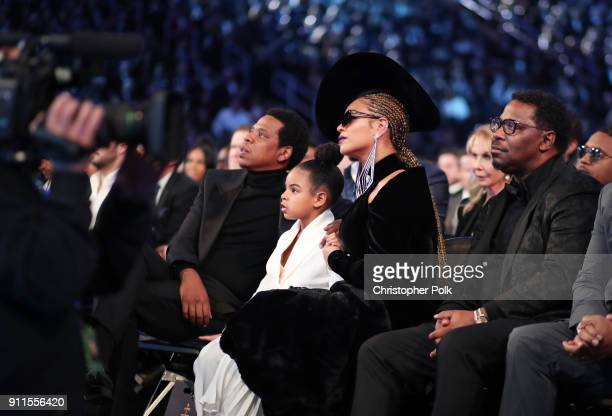 Recording artist JayZ Ivy Blue Carter and recording artist Beyonce Knowles attend the 60th Annual GRAMMY Awards at Madison Square Garden on January...