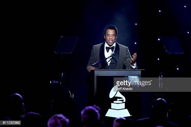 Recording artist JayZ performs onstage during the Clive Davis and Recording Academy PreGRAMMY Gala and GRAMMY Salute to Industry Icons Honoring JayZ...