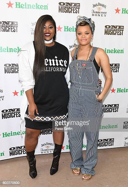 Recording artist Jazmine Sullivan and Andra Day attend 2016 ONE Musicfest at Lakewood Amphitheatre on September 10 2016 in Atlanta Georgia