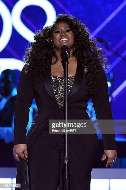 Recording artist Jazmine Sullivan performs onstage during the 2015 Soul Train Music Awards at the Orleans Arena on November 6 2015 in Las Vegas Nevada