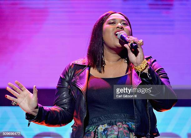 Recording artist Jazmine Sullivan performs onstage during the 2016 Essence Black Women in Music event at Avalon on February 11 2016 in Hollywood...