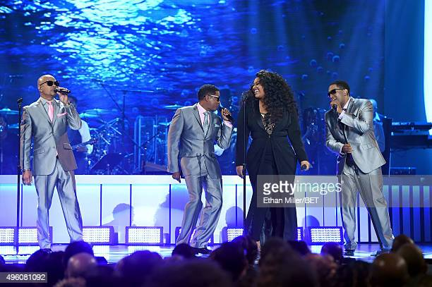 Recording artist Jazmine Sullivan performs with After7 onstage during the 2015 Soul Train Music Awards at the Orleans Arena on November 6 2015 in Las...