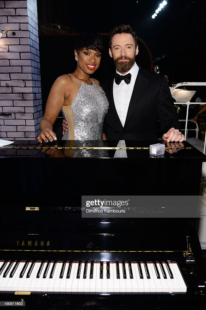Recording artist Jennifer Hudson (L) and Hugh Jackman attend the 68th Annual Tony Awards at Radio City Music Hall on June 8, 2014 in New York City.