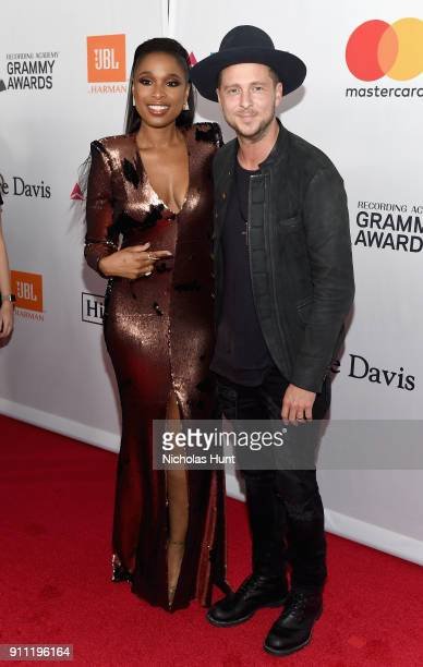 Recording artist Jennifer Hudson and music group OneRepublic's Ryan Tedder attend the Clive Davis and Recording Academy PreGRAMMY Gala and GRAMMY...