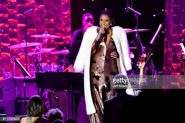 Recording artist Jennifer Hudson performs onstage during the Clive Davis and Recording Academy PreGRAMMY Gala and GRAMMY Salute to Industry Icons...