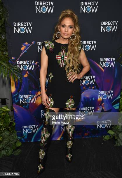 Recording artist Jennifer Lopez attends the 2018 DIRECTV NOW Super Saturday Night Concert at NOMADIC LIVE at The Armory on February 3 2018 in...