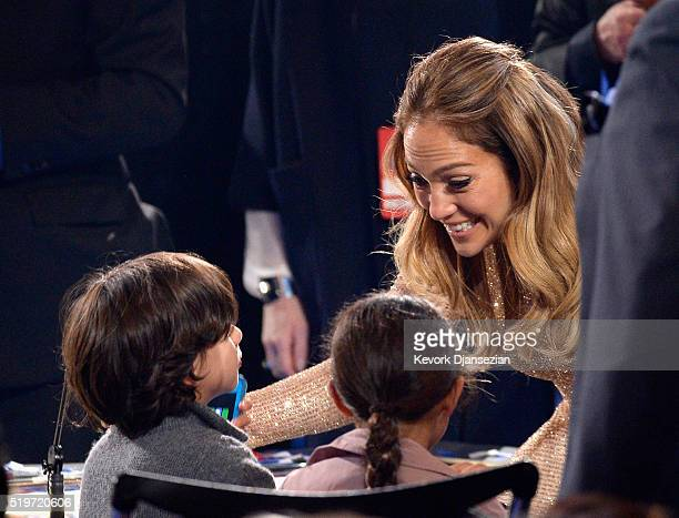 Recording artist Jennifer Lopez greets her children during FOX's American Idol Finale For The Farewell Season at Dolby Theatre on April 7 2016 in...